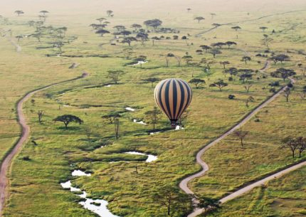 A hot air balloon safari in Serengeti National Park