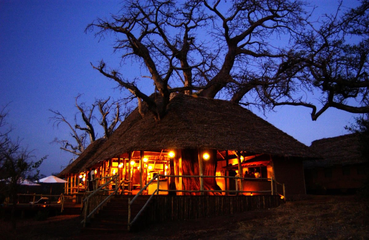 Tarangire-Treetops-the main lodge at night-Wito-Africa-Safaris